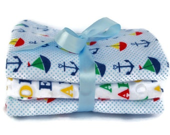 Boys burp cloths - flannel burp cloths - nautical burp rags - sailboat burp cloth - baby burp pad - burp cloth set - boy gift set - diapers