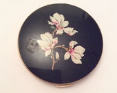 NEW YEAR Sale, Stratton Compact, Blossom, Black, Vintage Collectible, Gift for Her