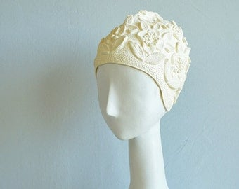 Vintage Bathing Cap  / 1950s  Cream White Floral Embossed Swimming Cap / New Old Stock