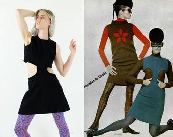 PIERRE CARDIN  60s Cut Out Black Jersey Dress