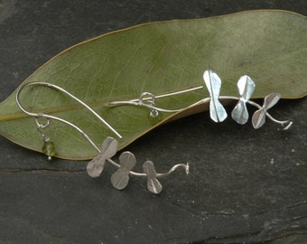 Spring Leaf Earrings with Peridot in Sterling Silver