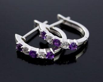 Huggie Earrings. Amethyst and Swarovski Huggie Earrings. Purple Amethyst and Swarovski Crystal Huggie Hoop Earrings - CS1510