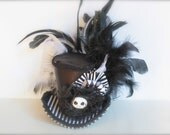 Over the Top Halloween Black and White Jack Skellington Cosplay Mini Top Hat Headband - Perfect Mickey's Not-So-Scary Halloween Party