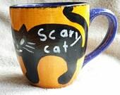 Halloween black cat cetamic mug with Chalkboard paint.
