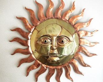 Sergio Bustamante Copper and Brass Sun Wall Sculpture