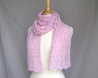 Bubblegum Pink Cashmere Scarf, Hand Knit Knitted, Long Light Scarf, Lace Lacy Wrap Scarf