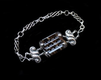 Victorian Scottish Striped Agate & Silver Fancy Link Bracelet