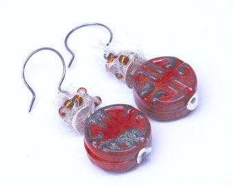 10% off entire store Celtic Knot Lampwork & Sari Silk Earrings . by Lori Davidson