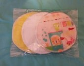 6 reusable flannel cotton nursing pads for bra A B C D DD nursing breastfeeding - all aboard baby on the train
