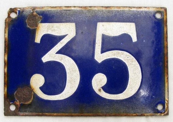 la maison num ro plaque n 35 original mail fran ais bleu. Black Bedroom Furniture Sets. Home Design Ideas