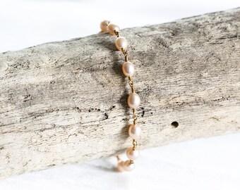 617_Blush pearl bracelet, Blush pink jewerly, Blush & gold bracelet, Blush wedding, Dainty bracelet, Bridesmaid jewerly, Pearl jewerly Blush