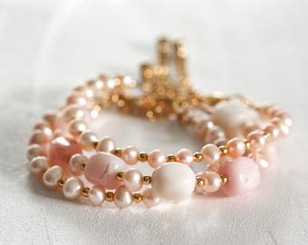 628_Opal pearl bracelets, Opal gold bracelet, Pink pearl bracelets, Opal bead bracelet, Opal pearl set, Set bracelets, Pink bead bracelet.