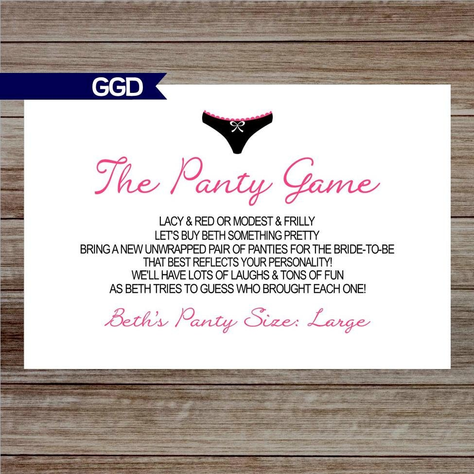 The Panty Game Poem for Lingerie Shower Panty Game card Hens