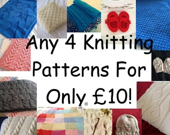 4 Knitting Pattern Deal, PDF, Combo Deal