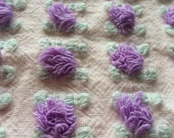Purple Rosebuds Morgan Jones Vintage Chenille Bedspread Fabric