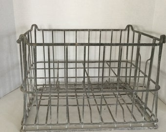 Vintage Metal Milk Crate Large Milk Crate Metal Industrial Crate