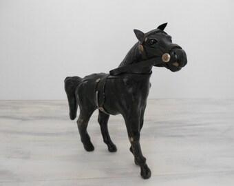 Vintage Leather Horse - Glass Eyes - Black Leather Horse