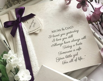 Stunning Father and Mother of the Bride Card Vintage Lace & Blackberry