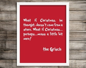 Grinch Quote Sign, The Grinch Christmas Art Print.  Christmas Art Decor 8X10 ~ Digital Download.