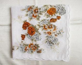 Vintage Cotton Hankie with Autumn Floral Colors