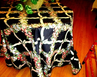"""Gorgeous Large Oval Black Tablecloth w Ribbons, Bows & Flowers app 96"""" w x 96'"""