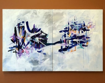 """SALE - Large abstract art, original painting, canvas painting, 20"""" x 32"""", diptych, wall decor, acrylic painting"""