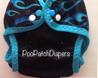 Blue Flame Swim Diaper with leg gussets and blue FOE (M-L)