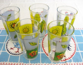 Set of 5 Heavy Vintage Sunflower & Wildflower Tall Drinking Glasses-Spring Summer Lemonade