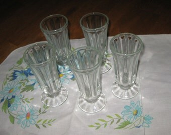 Set of 5 Vintage Parfait, Sundae, Dessert, Pressed Glassware