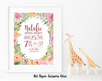 DIY Digital Watercolor Floral Frame Birth Announcement Print