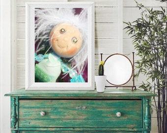 art print, child's art print, doll print, orignal doll print, sassy doll print, polymer clay doll print, 5 by 7