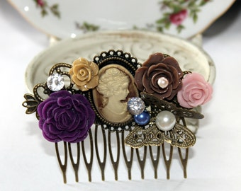 SALE Victorian Vintage Inspired Cameo Hair Comb - Wedding - Gift - Jewelry - Hair Accessory
