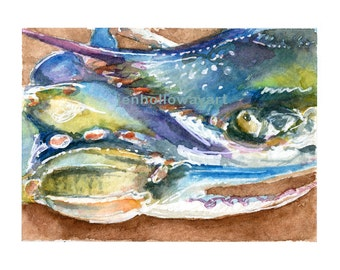 Watercolor Blue Crab, Blue Crab Print, Blue Crab Art, Crab Art