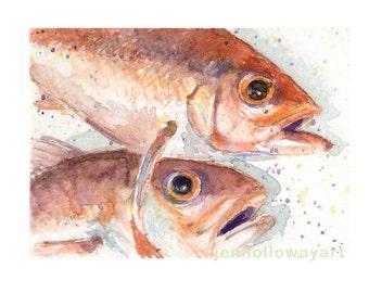 Watercolor Snapper, Fish Print, Queen Snapper Print, Fish Art