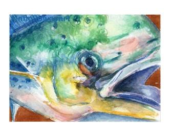 Watercolor MahiMahi, Mahi Mahi Print, For Him Fish Print, Fish Print, Dolphin Fish Print
