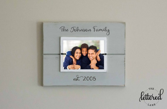 Family Picture Frame, Custom personalized photo frame, Established date, est date, Christmas present, family portrait, Wedding, Anniversary
