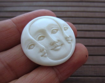 SALE 30mm Hand Carved Three Face Cabochon with open  Eye, Buffalo Bone Component, Cabochon for Setting S6437