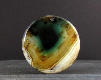 Unique  round green agate pendant ,Reversible  , semiprecious stone, Jewelry making supplies  S6516