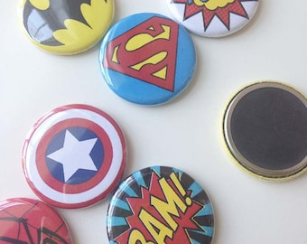 Super Action Heros, ceramic fridge magnets, set of 6