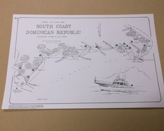 "Vintage 1981 Caribbean Nautical Map ""South Coast Dominican Republic"", Harry Kline Art"