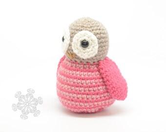 Pink Owl Plushie - Striped Owl Toy