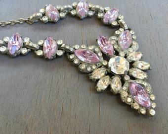 Art Deco Alexandrite Necklace Vintage Bridal Jewelry OOAK Color Change stones