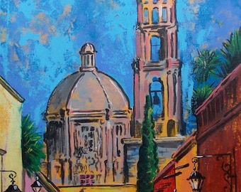 Original painting of San Miguel Mexican town street view and church acrylic on canvas