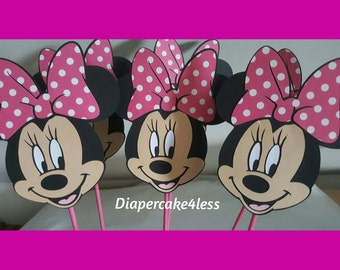 6 Minnie Mouse in stick great for centerpiece decoration