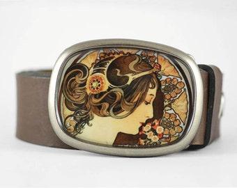 Mucha Belt Buckle, Art Nouveau belt buckle, Brown belt buckle, Art Belt Buckle, Womens belt buckle, belt buckle for women, gift for her