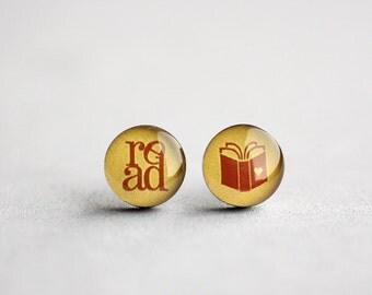 Book lover post earrings, Surgical steel ear stud, Reading earring, Tiny earring studs
