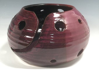 Yarn Bowl - Knitting Bowl - Purple and Black  - READY TO SHIP - craft supplies - knitting and crochet - ceramics - pottery - stoneware