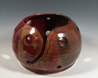 Yarn Bowl - Red Jasper - READY TO SHIP- craft supplies - knitting and crochet - ceramics - pottery - stoneware