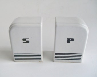 Vintage Art Deco Salt and Pepper Shakers Black and White