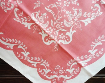 """Vintage Tablecloth Napkins - Ivory with Elegant Pink Floral Design - Unused - Square 39"""" x 38"""" with 4 Matching Napkins 11"""" Sq"""